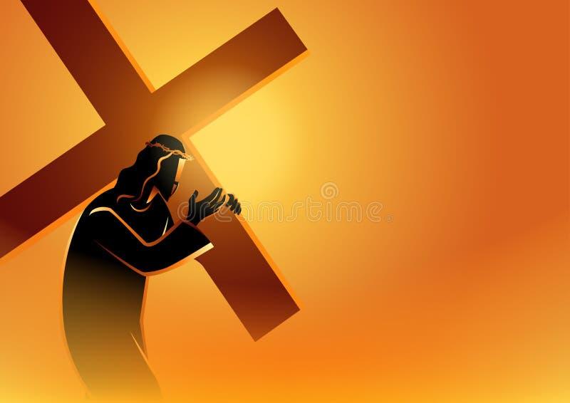 Jezus Niesie Jego krzyż ilustracja wektor