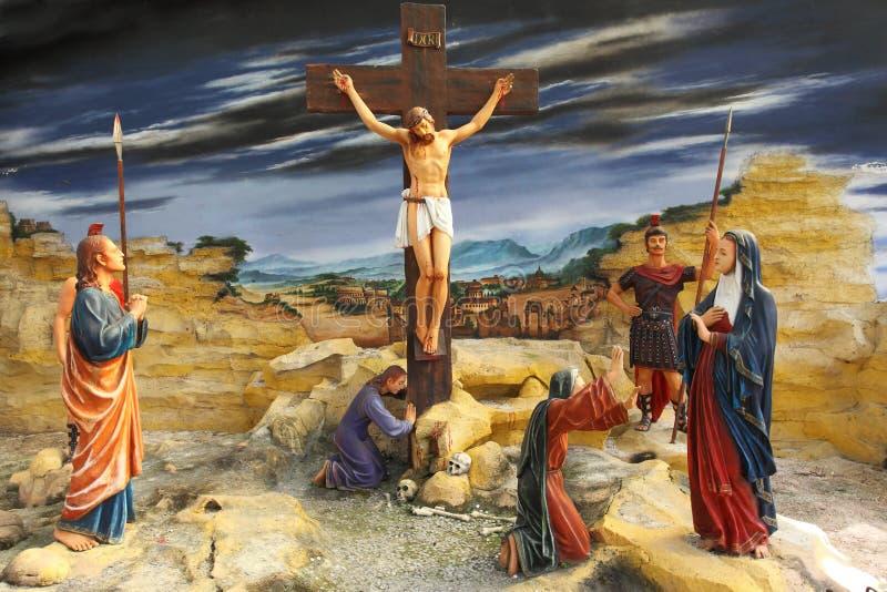 Jezus przy krzyżem zdjęcie royalty free