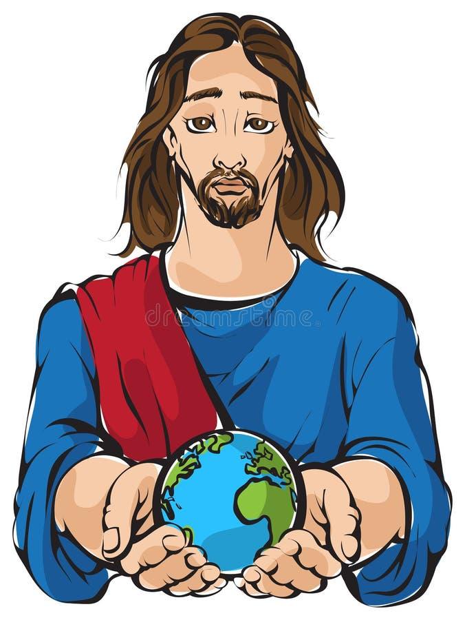 Jezus trzyma ręki planety ziemię ilustracja wektor