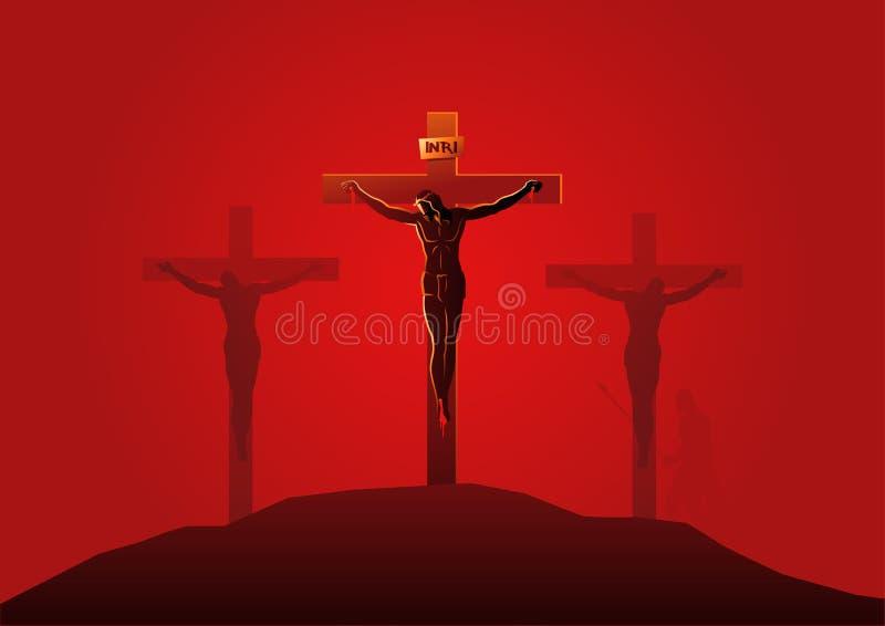 Jezus umiera na krzyżu ilustracja wektor