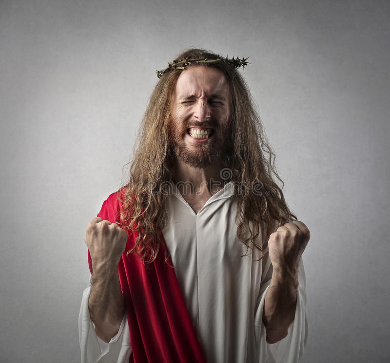 Jezus w triumf pozyci obrazy royalty free