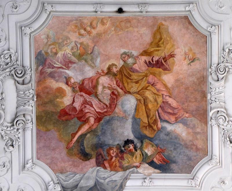 Jezus wraca Jego ojciec w niebie zdjęcia stock