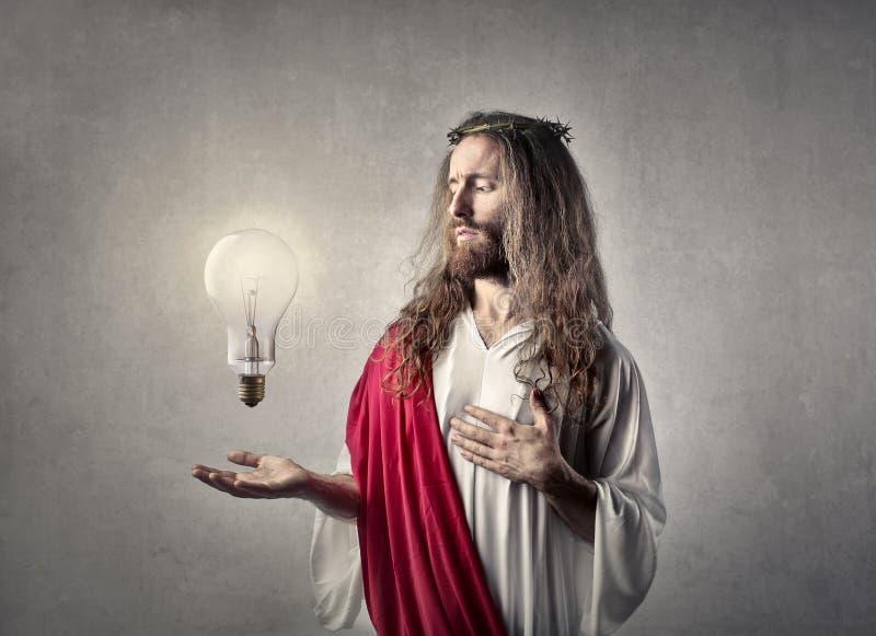 Jezus z żarówką obraz stock