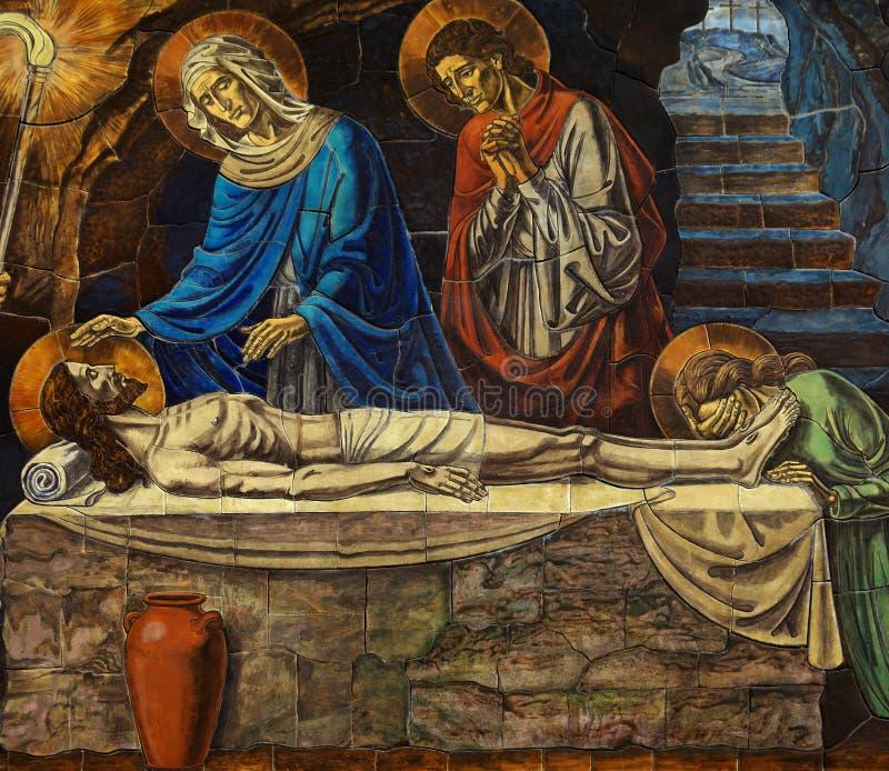 Jezusowa Łgarska śmierć w jego grobowu z Mary, mozaika zdjęcia stock