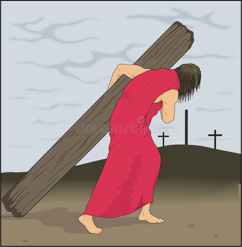 Jezusowa przewożenie krzyża wektoru ilustracja royalty ilustracja