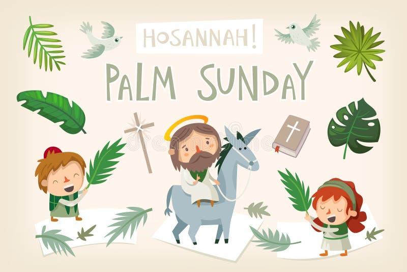 Jezusowy jeździecki osioł wchodzić do Jerozolima na palmowej Niedziela royalty ilustracja