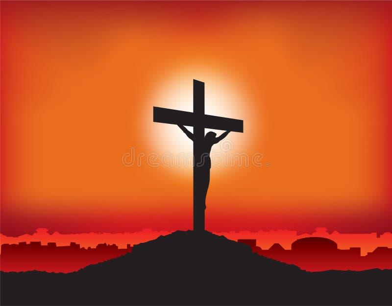 Jezusowy ukrzyżowany na krzyżu royalty ilustracja