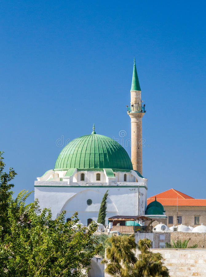 The Jezzar Pasha Mosque in Akko, Israel. The Jezzar Pasha Mosque, also known as the White Mosque, in Old City of Akko, or Acre, Israel royalty free stock images