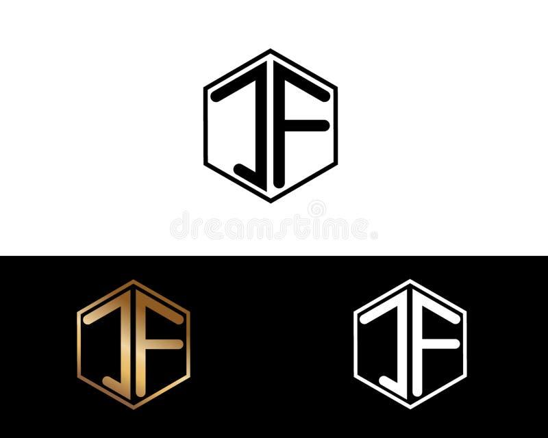 JF-Buchstaben verbunden mit Hexagonformlogo stock abbildung