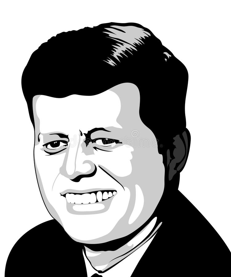 JFK. An illustration of the late president of the united States of America, John F. Kennedy vector illustration