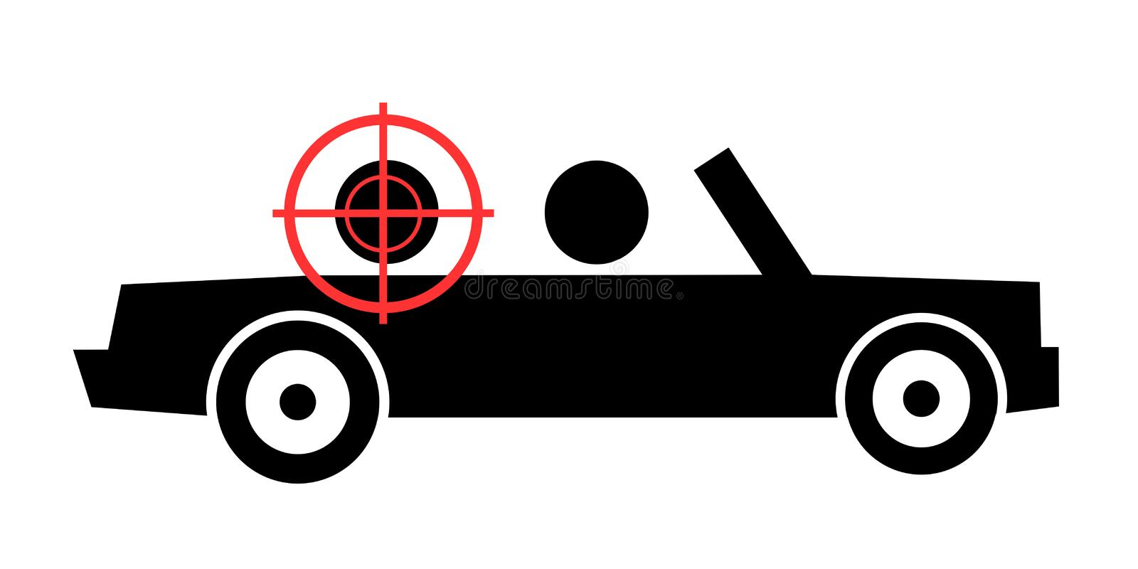 JFK assassination. Person is killed and assassinated in the cabriolet and convertible car by shot from gun. Vector illustration vector illustration