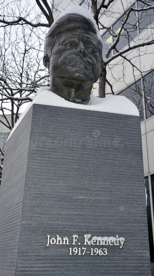 JFK bronze statue. MONTREAL CANADA 02 13 2017: JFK bronze statue, The monument was produced by Paul Lancz in 1986 and donated to the city by the Birks Family stock photo