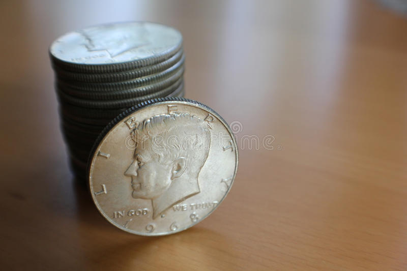 JFK Half-Dollar Silver Coins stock images