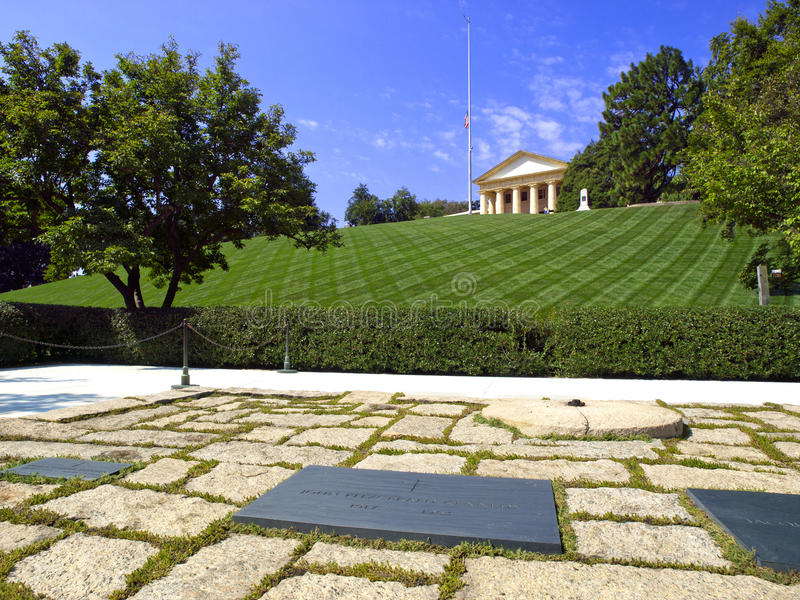 JFK Memorial. The John F. Kennedy Eternal Flame is a presidential memorial at the gravesite of U.S. President John F. Kennedy, in Arlington National Cemetery stock photography