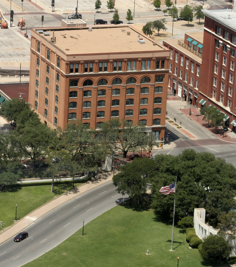 JFK Plaza, Dallas. Aerial view of JFK Plaza and the Sixth Floor Museum, the former Texas School Book Depository Building - location of the assasination of