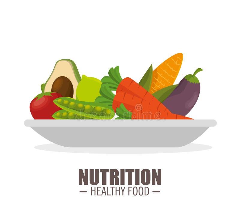 jflatcy van het voedings gezonde voedsel en smakelijke groenten over plaat stock illustratie