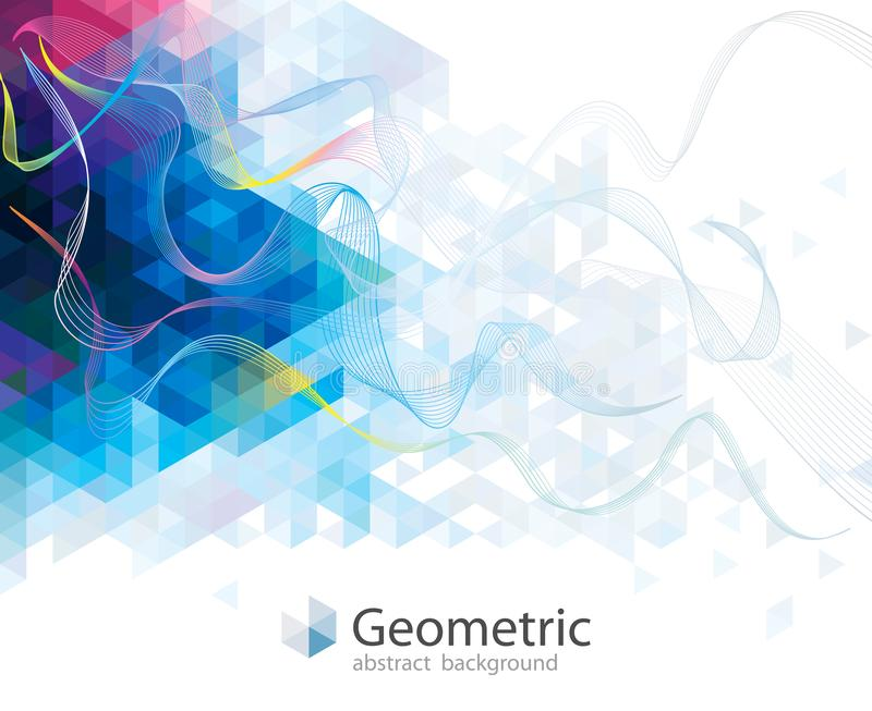 Colorful Wave Geometric Abstract Background. stock illustration