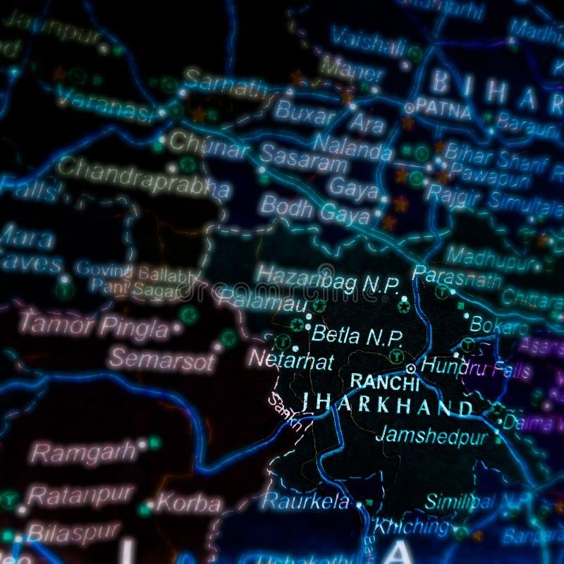 jharkhand-delstat av Indiens namn på den geografiska platskartan royaltyfri fotografi