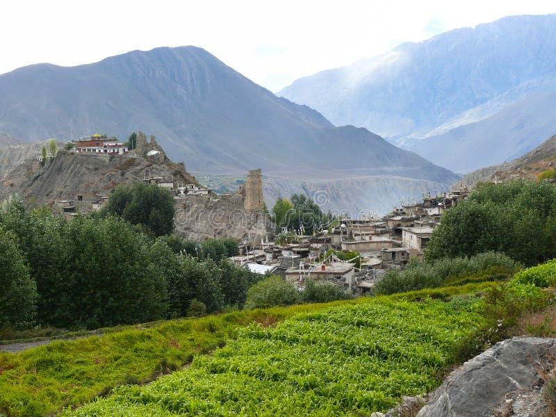 Jhong村庄, Muktinath谷,尼泊尔 库存图片