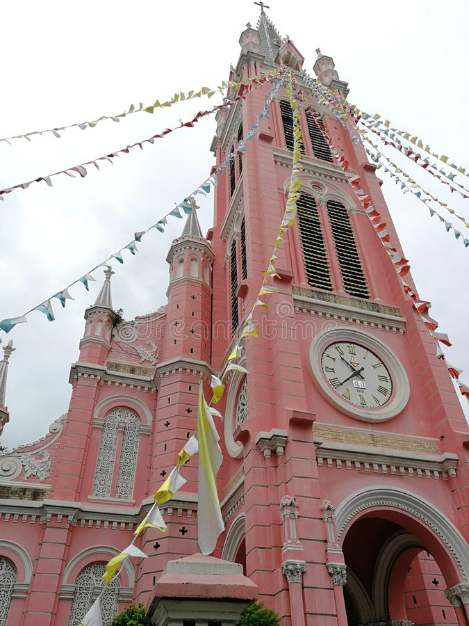 Ji Minh City de Tan Dinh Church Pink Church Ho imagen de archivo
