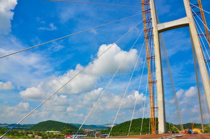 标题写 Low angle view of the Jiangshun Bridge, Jiangmen, Guangdong, China. Jiang Shun Bridge Jiangshun Bridge is China`s guangdong province jiangmen pengjiang royalty free stock photo