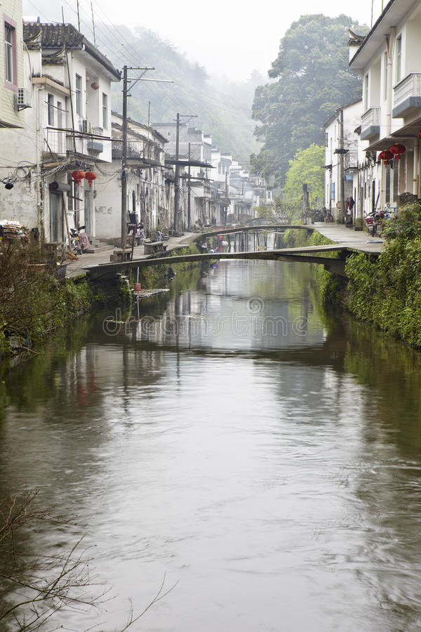 Jiangxi, China: klein dorp in wuyuan stock foto's