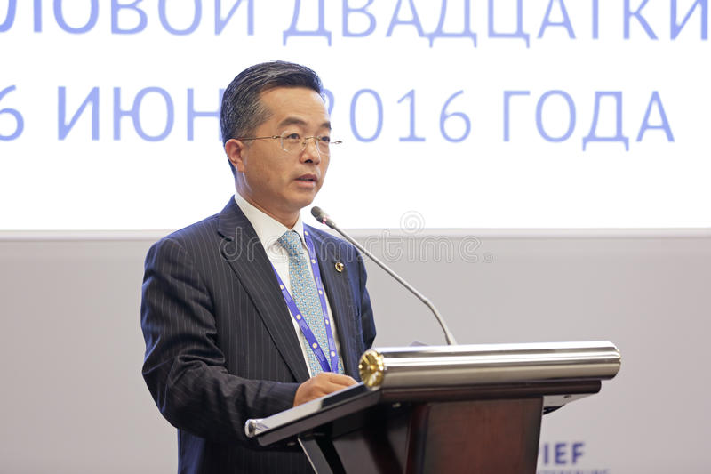 Jianmin Miao. SAINT-PETERSBURG, RUSSIA - JUN 16, 2016: St. Petersburg International Economic Forum SPIEF-2016. Jianmin Miao, Vice-Chairman, President, China Life royalty free stock photos