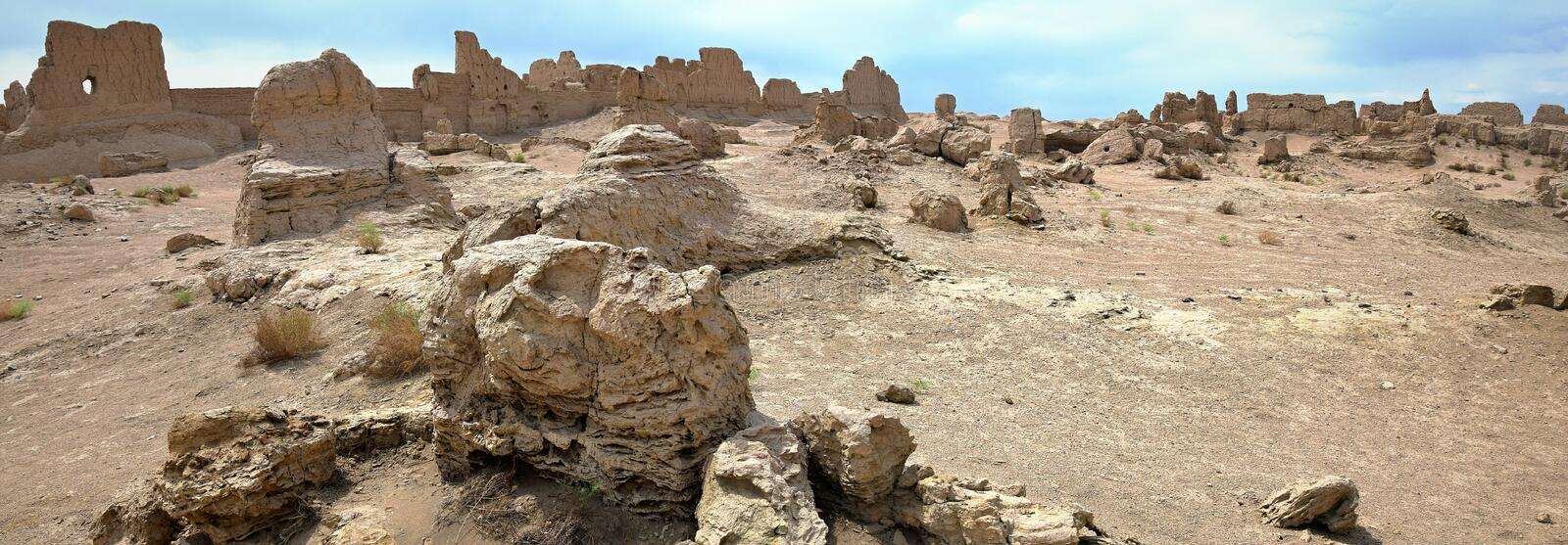 Jiaohe Ancient Ruins in Turpan in Xinjiang Uighur Autonomous Region of China. Jiaohe Ancient Ruins in Turpan range is a natural fortress located atop a steep stock images