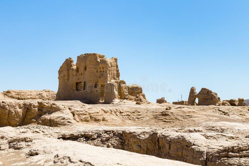 Jiaohe f?rd?rvar, Turpan, Kina Forntida huvudstad av det Jushi kungariket, ?r det mer ?n 2000 gamla ?r royaltyfria bilder