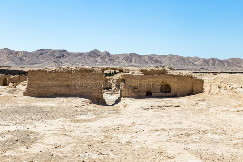 Jiaohe Ruins, government building remains, Turpan, China. Ancient capital of the Jushi kingdom, it was a natural fortress. Atop a steep cliff leaf-shaped stock image