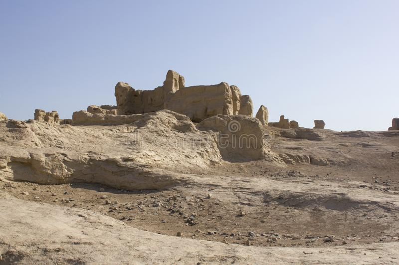 Jiaohe Ruins near Turpan, China. Jiaohe ruins, an archeological site found in the Yarnaz Valley near Turpan, Xinjiang Uyghur Autonomous Region, China. It is a royalty free stock photography