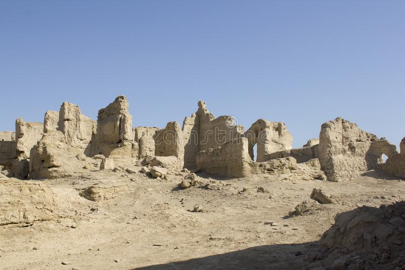 Jiaohe Ruins near Turpan, China. Jiaohe ruins, an archeological site found in the Yarnaz Valley near Turpan, Xinjiang Uyghur Autonomous Region, China. It is a stock images