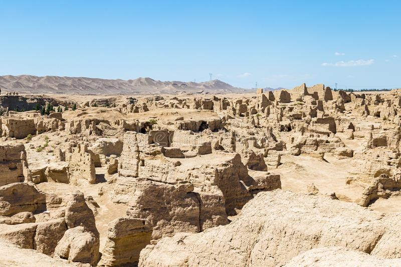 Jiaohe Ruins seen from above, Turpan, China. Ancient capital of the Jushi kingdom, it was a natural fortress on a steep plateau. Jiaohe Ruins seen from above royalty free stock images