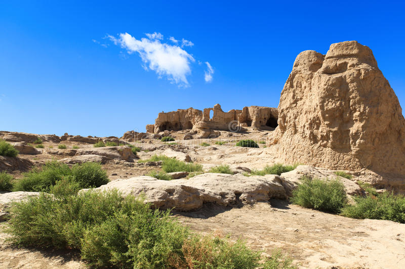 The jiaohe ruins in turpan. Xinjiang province,China,is the world's oldest and best-preserved immature soil buildings city, the most complete city ruins stock photos