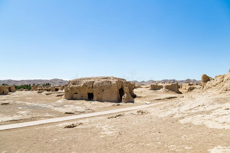 Jiaohe Ruins, Turpan, China. Ancient capital of the Jushi kingdom, it is more than 2000 years old. Jiaohe Ruins, Turpan, China. Ancient capital of the Jushi royalty free stock photos