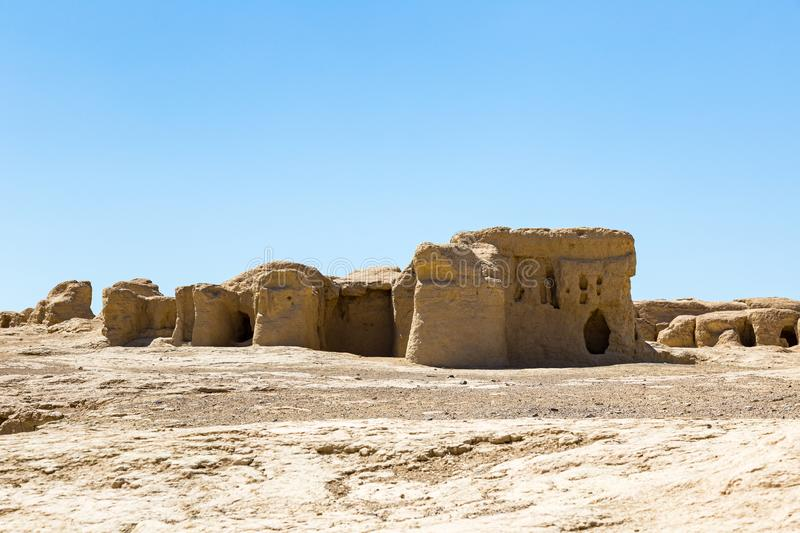 Jiaohe Ruins, Turpan, China. Ancient capital of the Jushi kingdom, it is more than 2000 years old. Jiaohe Ruins, Turpan, China. Ancient capital of the Jushi royalty free stock photography