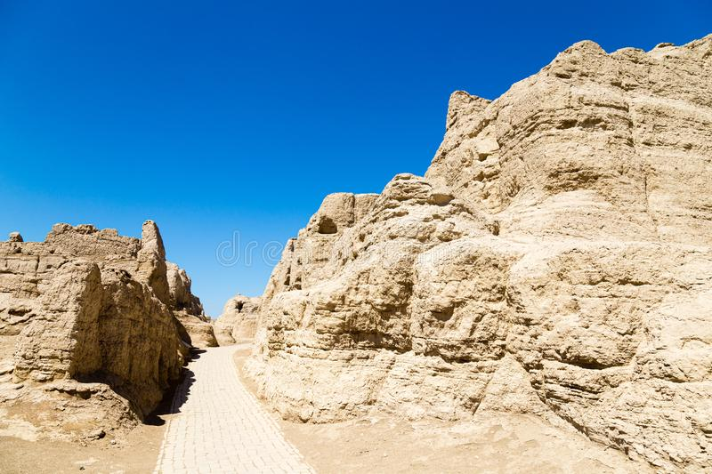 Jiaohe Ruins, warehouse district, Turpan, China. Ancient capital of the Jushi kingdom. It was a natural fortress atop a steep cliff leaf-shaped plateau between royalty free stock photos