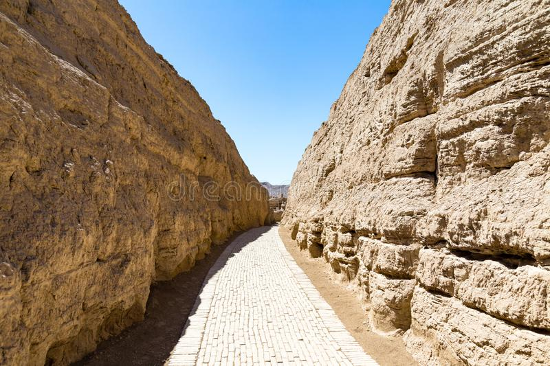 Jiaohe Ruins, warehouse district, Turpan, China. Ancient capital of the Jushi kingdom, it was a natural fortress. Atop a steep cliff leaf-shaped plateau between stock images