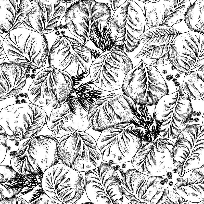 Jiaozi Manta Mięsne kluchy wektor bezszwowy wzoru ilustracji