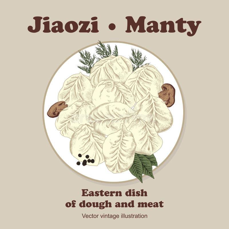 Jiaozi Manty Bolas de masa hervida de la carne stock de ilustración