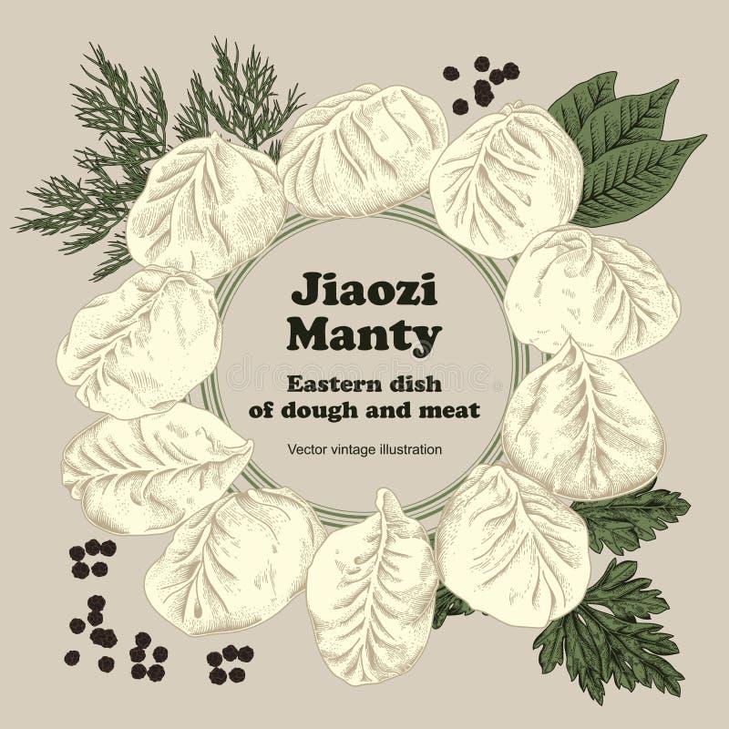 Jiaozi Manty Bolas de masa hervida de la carne Platos nacionales libre illustration