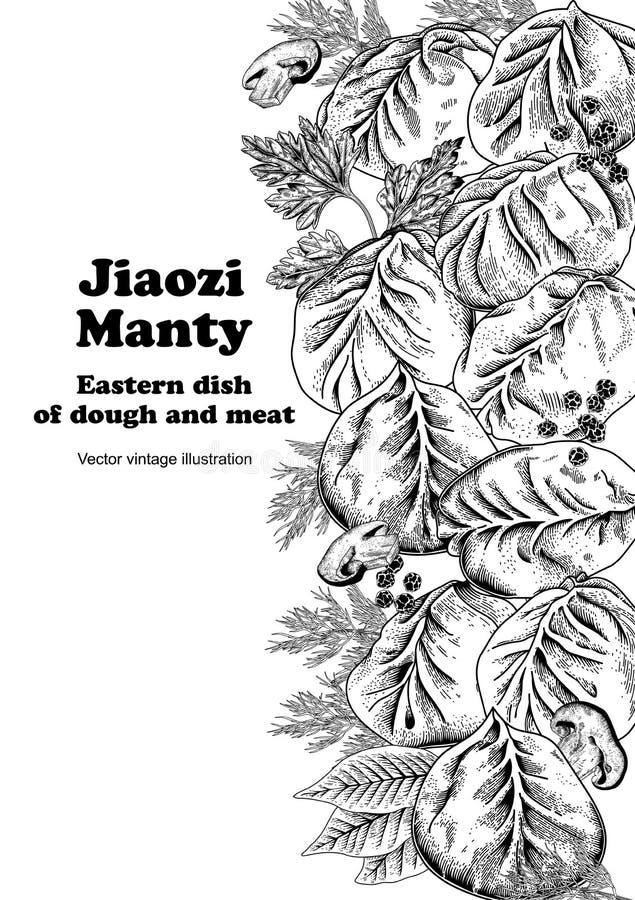Jiaozi Manty Bolas de masa hervida de la carne Platos nacionales ilustración del vector