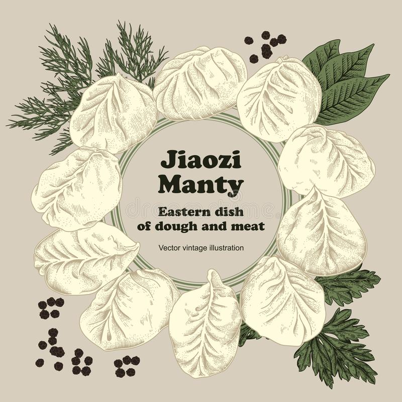 Jiaozi Manty Bolinhas de massa da carne Pratos nacionais ilustração royalty free