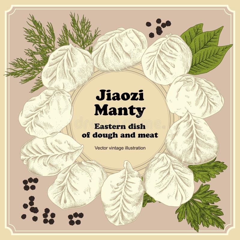 Jiaozi. Manty. Meat dumplings. National dishes. royalty free illustration
