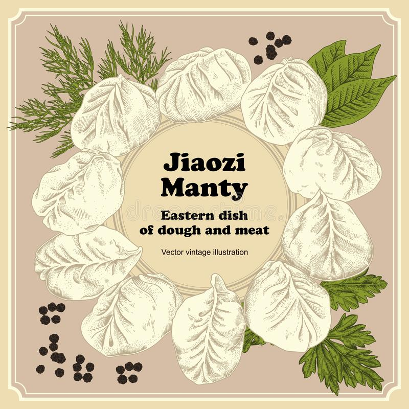 Jiaozi. Manty. Meat dumplings. National dishes. royalty free illustration