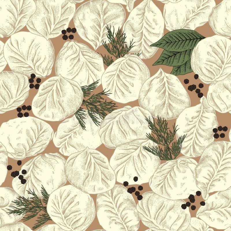 Jiaozi. Manty. Meat dumplings. Vector seamless pattern. stock illustration