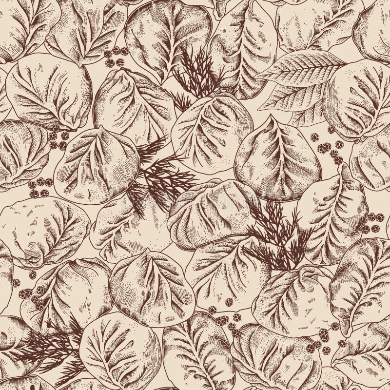 Jiaozi Manty Russisches pelmeni auf einer Platte Vector nahtloses Muster lizenzfreie abbildung