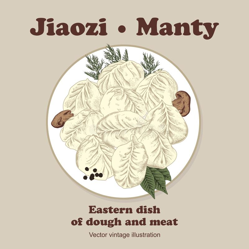 Jiaozi Manty Rysk pelmeni på en platta stock illustrationer