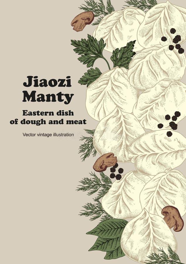 Jiaozi Manty Rysk pelmeni på en platta bambu besegrar för plattafilten för mål nationella sticks för skaldjuret vektor illustrationer