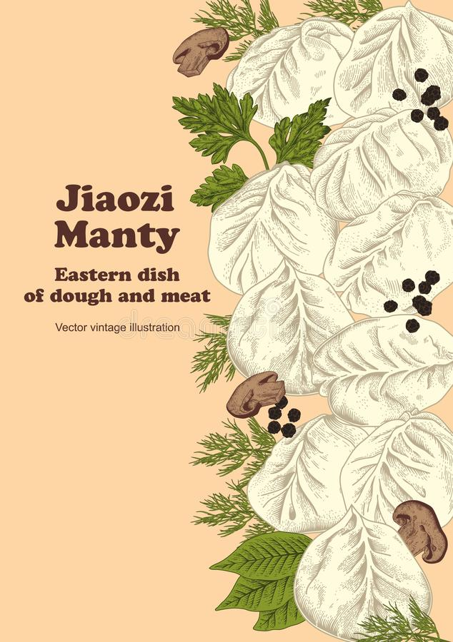 Jiaozi Manty Rysk pelmeni på en platta bambu besegrar för plattafilten för mål nationella sticks för skaldjuret stock illustrationer